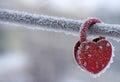 Frozen heart-shaped lock as a symbol