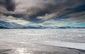 Frozen lake kleifarvatn in iceland during winter time Royalty Free Stock Photos