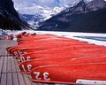 Frozen Lake Louise, Alberta, Canada. Royalty Free Stock Photo