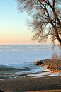 Frozen lake and snow covering image of a frozsen erie ne ohio Stock Photos
