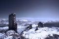 Frozen landscape italy a stunning view from rocca calascio abruzzi Stock Photos