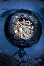 Frozen mechanical watch in ice macro Royalty Free Stock Photo