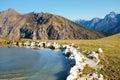 Frozen montain lake mountain in val di scalve alps montains italy Stock Photos