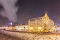 Frozen Moscow river near five star hotel tonight in Christmas Royalty Free Stock Photo