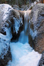 Frozen mountain torrent winter wonderland germany in bavaria Stock Photo