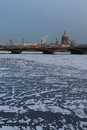The frozen neva view on blagoveschenskiy bridge and saint isaac s cathedral in winter twilight downstream of river saint Stock Photography