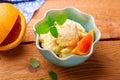 Frozen orange yogurt Royalty Free Stock Photo