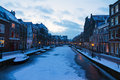 Frozen oude rijn leiden river rhine at twilight in in the netherlands Royalty Free Stock Photography