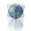 Frozen planet earth north and south america inside d ice cube elements of this image furnished by nasa Stock Photos