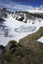 Frozen pond in devero alp during spring Stock Photo