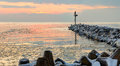 Frozen port of Baltic Sea at winter time. Royalty Free Stock Photo