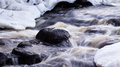 Frozen rapid with snow and ice covering the edges Royalty Free Stock Photography