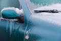 Frozen rearview mirror and wiper Royalty Free Stock Photo