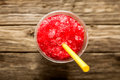 Frozen Red Slushie in Plastic Cup with Straw Royalty Free Stock Photo