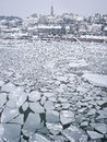 Frozen river sava during the hard winter in belgrade serbia sometimes even icebreakrs have a problem with that ice Royalty Free Stock Photo