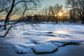 Frozen River Sunrise Stock Images