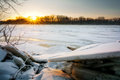 Frozen River Sunrise Royalty Free Stock Images