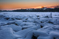 Frozen River Sunrise Royalty Free Stock Image