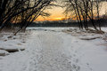 Frozen river sunrise a beautiful snowy winter along the maumee in northwest ohio Stock Images