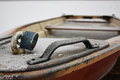 frozen rowing boat with padlock Royalty Free Stock Photo