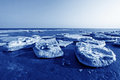 Frozen sandy beach natural scenery in a geological park north china Royalty Free Stock Photo