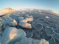 Frozen sea arctic winter landscape glaciers mountains Royalty Free Stock Images