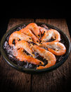 Frozen shrimp with ice cubes on a wood background Royalty Free Stock Photo