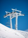 Frozen ski lift ice formation on the infrastructure of a Royalty Free Stock Photography