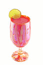 Frozen strawberry margarita in a hand painted glass Royalty Free Stock Images
