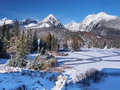 Frozen Strbske Pleso in High Tatras in winter Royalty Free Stock Photo
