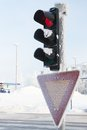 Frozen traffic light at winter showing red see my other works in portfolio Royalty Free Stock Photography