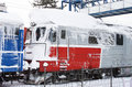 Frozen train in winter in a railway station Stock Image