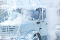 Frozen truck in very cold weather Stock Image