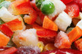 Frozen vegetables. Mexican mix. Macro. 6 Royalty Free Stock Photo