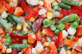 Frozen vegetables. Mexican mix. Macro. 7 Royalty Free Stock Photo