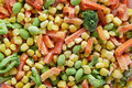Frozen vegetables vegetable mixture of carrots corn and peas Royalty Free Stock Images