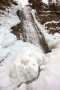 Frozen waterfall, Cascata Bassa, Val di Gares, Belluno Royalty Free Stock Photos