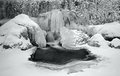 Frozen waterfall little in winter time Royalty Free Stock Photography