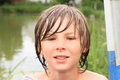 Frozen wet boy Royalty Free Stock Photo