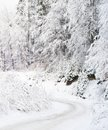Mountains winter road covered snow Royalty Free Stock Photo