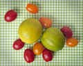 Fruit against checkered background Royalty Free Stock Photo