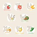 Fruit alphabet a vector illustration of and vegetables in alphabetical order from s to z Stock Photos