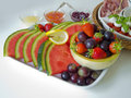 Fruit and antipasti plate with fresh an plate Royalty Free Stock Photography