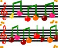 Fruit as notes on a musical figure Royalty Free Stock Photo