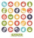 Fruit Assortment Round Color Icon Vector Set