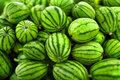 Fruit Background. Organic Watermelons In Farmers Market. Nutriti Royalty Free Stock Photo