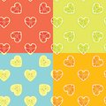 Fruit background set of citrus seamless pattern various in halves heart shaped cartoon ornament packing wallpaper fabric Royalty Free Stock Photo