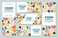 Fruit banner. Summer fruits, organic food menu and fresh pineapple banners vector illustration set Royalty Free Stock Photo