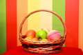 Fruit basket on a background Stock Images
