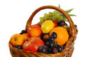 Fruit basket with different fruits on the white background Stock Photo
